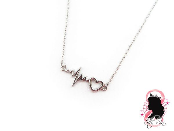Antique Silver Heartbeat Necklace